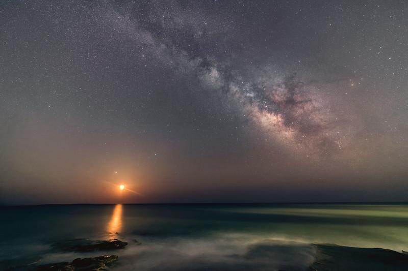 """Milky Way Moonrise"""