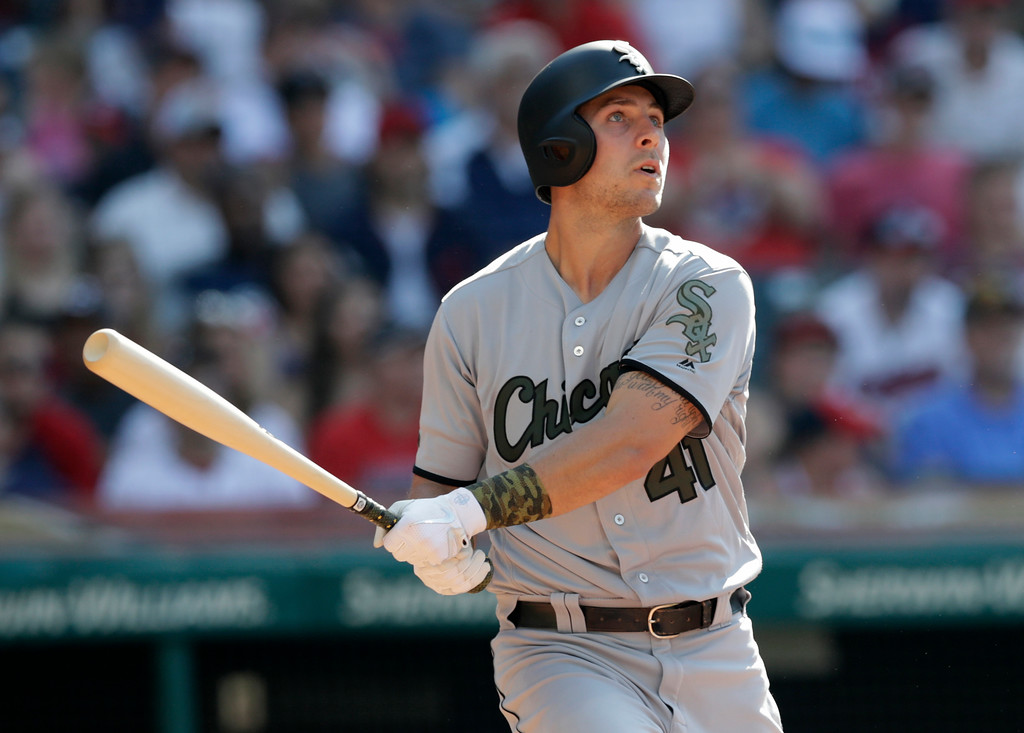 . Chicago White Sox\'s Matt Stole watches his solo home run off Cleveland Indians starting pitcher Adam Plutko in the fourth inning of a baseball game, Monday, May 28, 2018, in Cleveland. (AP Photo/Tony Dejak)