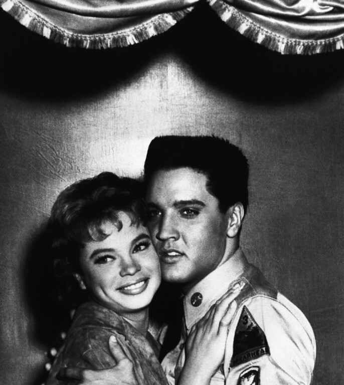 . South African dancer and actress Juliet Prowse has been in America only 18 months, but already she�s beguiled both Frank Sinatra and Elvis Presley. Here she plays opposite Presley in �G.I. Blues� in Hollywood, Los Angeles on July 6, 1960. Scenes like this have developed into dates, which Juliet successfully has managed to juggle between dates with Sinatra. (AP Photo)