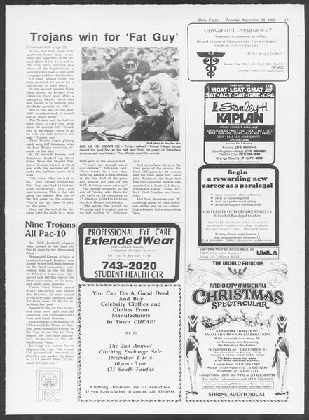 Daily Trojan, Vol. 92, No. 57, November 30, 1982
