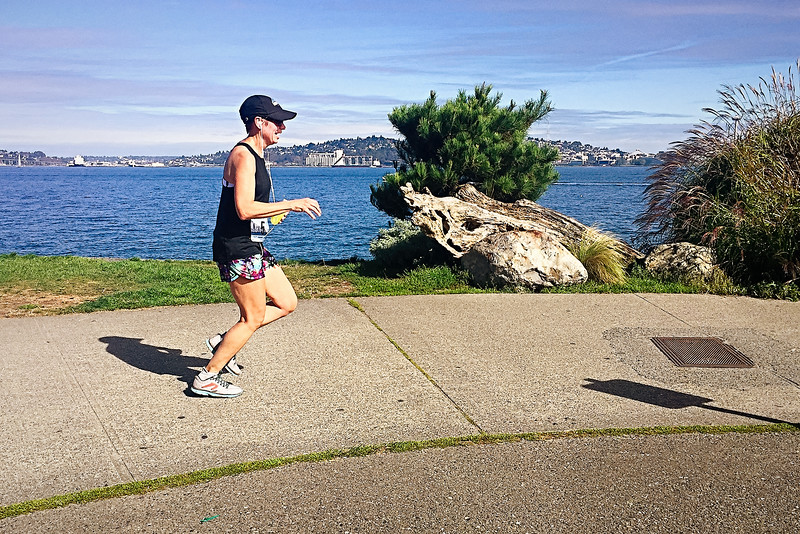 Closing in on the Orca half marathon finish line