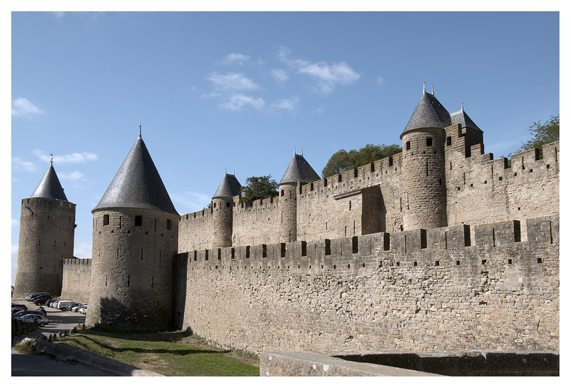 The fortress at Carcassonne.  This is a VERY large and old  fortress started in the 5th century.  It has been restored but much of the structure is original.