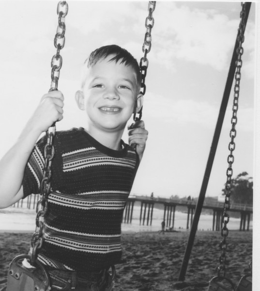 David, 1961? on swings in Cayucos