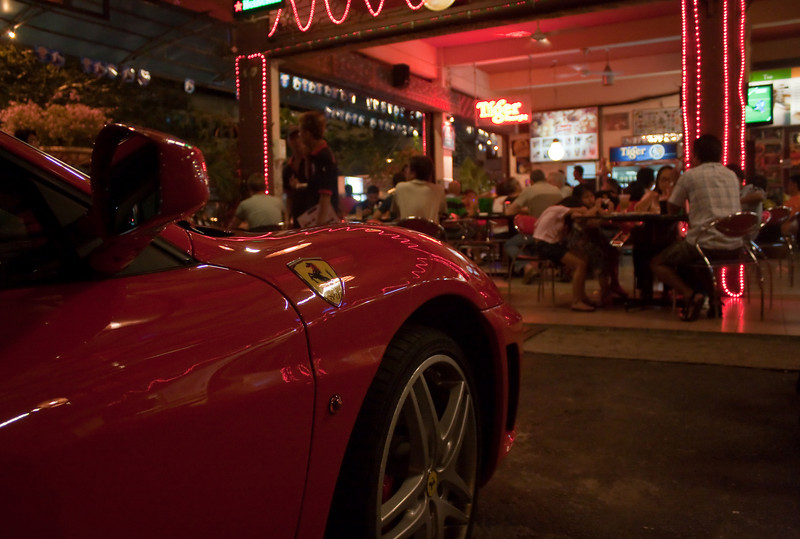 Taking your Ferrari to a local €1-a-Meal eatery at Miri