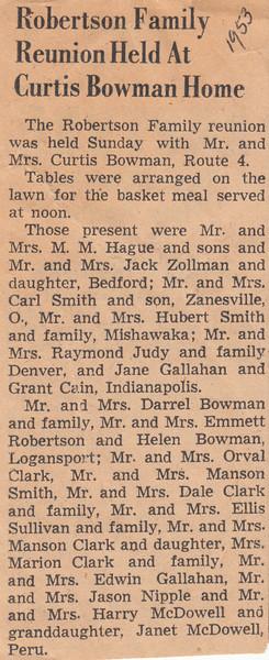 Newspaper Clipping -  Robertson Family Reunion 1953.jpg