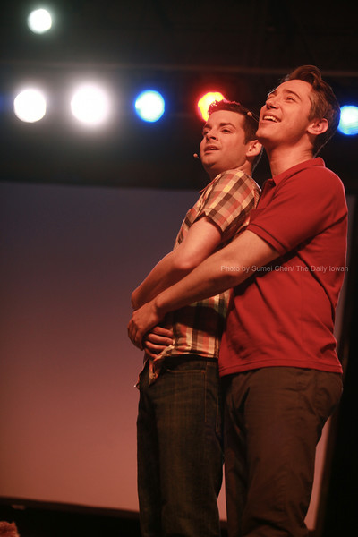 Members of the Gay Men's Chorus of Los Angeles, Drew Tablak (left) and Jason Currie, perform as part of the national anti-bullying campaign It Gets Better at the Iowa Memorial Union in Iowa CIty, Iowa on Friday, October 19, 2012. (The Daily Iowan/Sumei Chen)