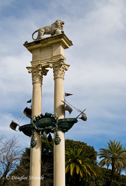 Tue 3/15 in Seville: The Monument to Columbus stands in the Jardines de Murillo