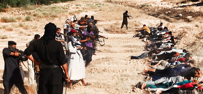 Description of . This image posted on a militant website on Saturday, June 14, 2014, which has been verified and is consistent with other AP reporting, appears to show militants from the al-Qaida-inspired Islamic State of Iraq and the Levant (ISIL) taking aim at captured Iraqi soldiers wearing plain clothes after taking over a base in Tikrit, Iraq. The Islamic militant group that seized much of northern Iraq has posted photos that appear to show its fighters shooting dead dozens of captured Iraqi soldiers in a province north of the capital Baghdad. Iraq's top military spokesman Lt. Gen. Qassim al-Moussawi confirmed the photos' authenticity on Sunday and said he was aware of cases of mass murder of Iraqi soldiers. (AP Photo via militant website)