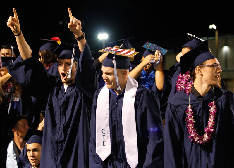 The Pleasant Valley High School class of 2017 celebrates at the conclusion of the commencement ceremony Wednesday June 7, 2017 in Chico, California. (Emily Bertolino -- Enterprise-Record)