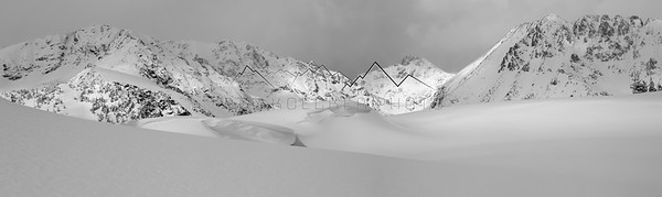 Black and White Panorama taken in the Gore Range, CO