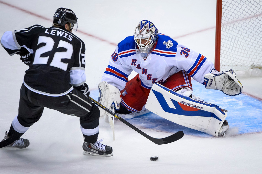. Kings Trevor Lewis couldn\'t get this shot past Rangers Henrik Lundqvist during second period action at Game 1 of the Stanley cup Finals at Staples Center Wednesday, June 4, 2014 ( Photo by David Crane/Los Angeles Daily News )