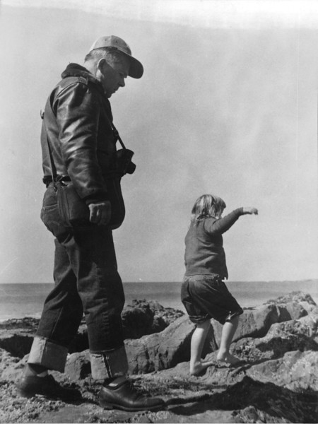 Ruben Siemens, March 1954. Probably Cayucos. I don't know who the girl is.ff