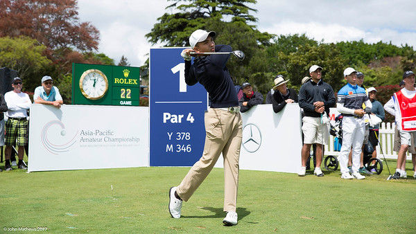 Abdul Hadi from Singapore hitting off the 1st tee on the 2nd day of competition  in the Asia-Pacific Amateur Championship tournament 2017 held at Royal Wellington Golf Club, in Heretaunga, Upper Hutt, New Zealand from 26 - 29 October 2017. Copyright John Mathews 2017.   www.megasportmedia.co.nz