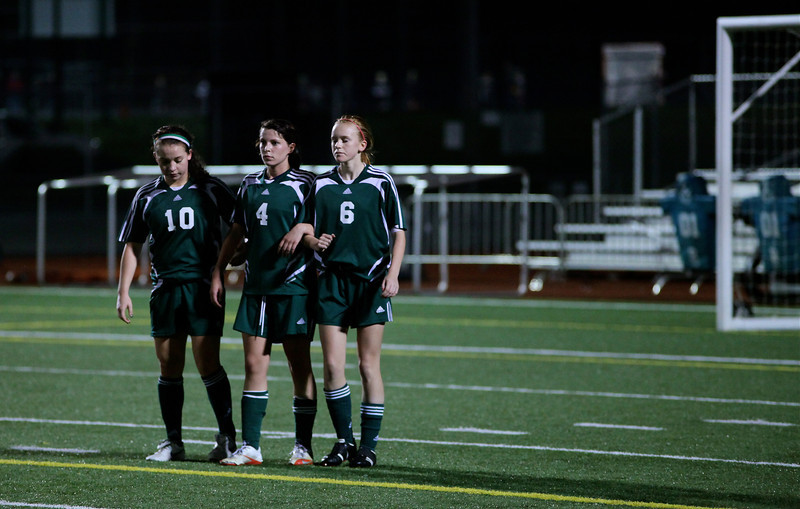 Reagan Quigley, Haley Fay, Emily Neubert Woodinville High Girls Varsity Soccer verse Skyline High October 20, 2011, ©Neir