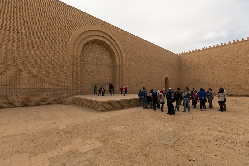 A group of visiting Iraqi's visiting the reconstructed Palace. Saddam's perhaps misguided attempt to reconstruct the Palace of Nebuchadnezzar II has been derided as 'Disney for a Despot' as it was violating the archaeological principle of preserving rather than recreating.