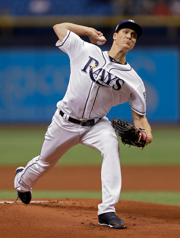 . Tampa Bay Rays\' Tyler Glasnow pitches to the Cleveland Indians during the first inning of a baseball game Tuesday, Sept. 11, 2018, in St. Petersburg, Fla. (AP Photo/Chris O\'Meara)