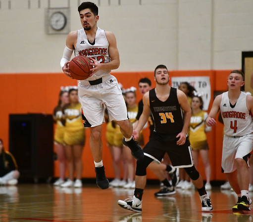 2/14/2020 Mike Orazzi | StaffrTerryville High School's Sean O'Donnell (23) during Friday evening's boys basketball game with Thomaston in Terryville.