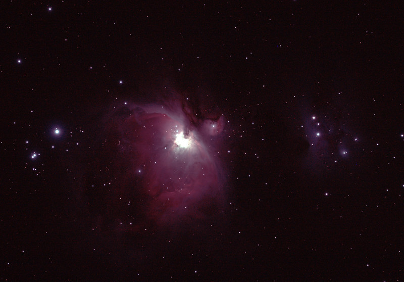 Messier M42 - NGC1976 - Orion Nebula & NGC1977 Running Man Nebula - 26/03/2012 from Perth Observatory  Having not photographed this all summer, I thought I'd take a couple of shots from the Perth Observatory site before starting on more eastern sky objects (away from Perth city lights). Even the short 30 kms from the city centre with only a 2 image stack results in noticeably better contrast than I can get from home in the suburbs, 12 km from the city.  DeepSkyStacker 3.3.2 Stacked 100% of 2 Images ISO 800 180 Sec, 32 DARK, 37 BIAS, 0 FLATS, Post-processed by Photoshop CS5  Telescope - Apogee OrthoStar LOMO 80/480 with Hotech SCA Field Flattener, Hutech IDAS LPS-P2 filter, Canon 400D DSLR, Ambient 17C. Mount - Skywatcher NEQ6 Pro. Guidescope - Orion ShortTube 80 with Star Shoot Auto Guider.