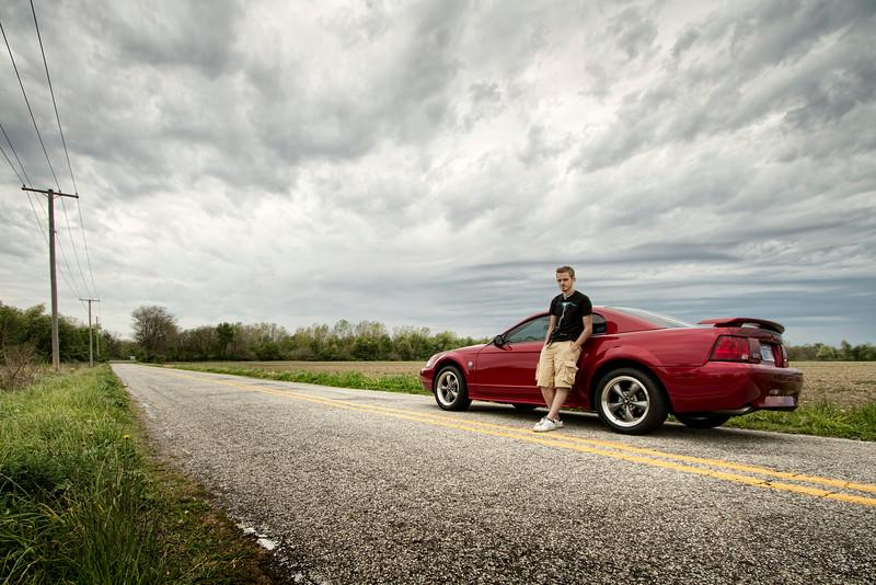 Adam Serwacki High School Senior Portrait - His Mustang Not-So-Busy Road - Hobart, Indiana
