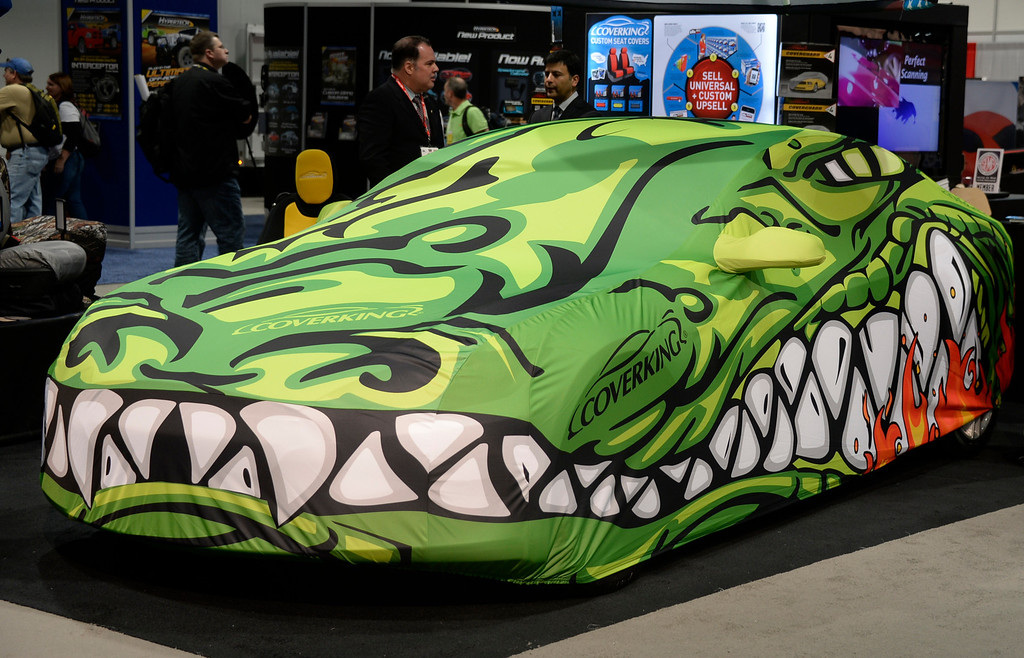 . Nov 5,2013 Las Vegas NV. USA. Some of the many custom car covers on display during the first day of the 2013 SEMA auto show.