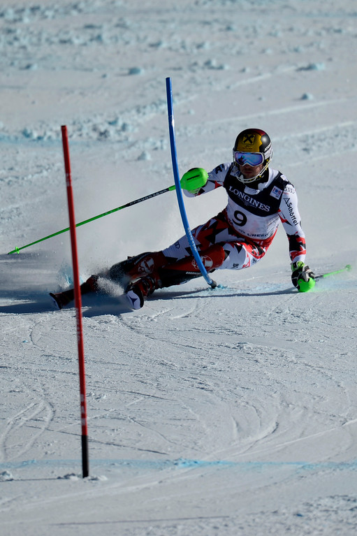 . BEAVER CREEK, CO - FEBRUARY 08: Marcel Hirscher of Austria competes during the men\'s alpine combined final. FIS Alpine World Ski Championships 2015 on Sunday, February 8, 2015. (Photo by AAron Ontiveroz/The Denver Post)