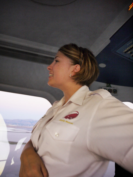 And there she is, our charming flight attendant, Ginny!