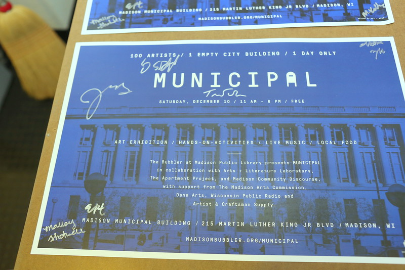 MUNICIPAL poster partially signed by Artists