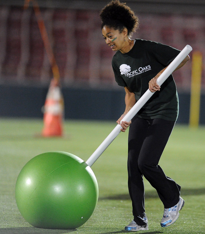. Student Gabriella Chapman of Pacific Oaks College & Children School during the giant croquet competition School during the the 2013 Collegiate Field Tournament at the Rose Bowl on Friday, April 5, 2013 in Pasadena, Calif.  (Keith Birmingham Pasadena Star-News)