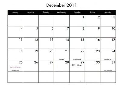 Calendar Example.  Family Style
