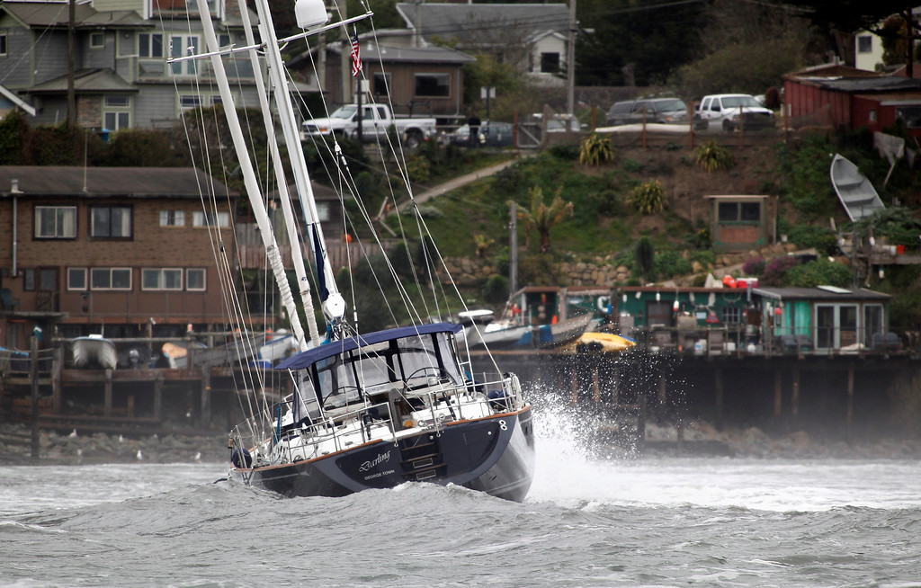 . An 82-foot long sailboat named the Darling rocks in the surf after running aground off Linda Mar Beach in Pacifica, Calif., Monday morning March 4, 2013. (Karl Mondon Photo)