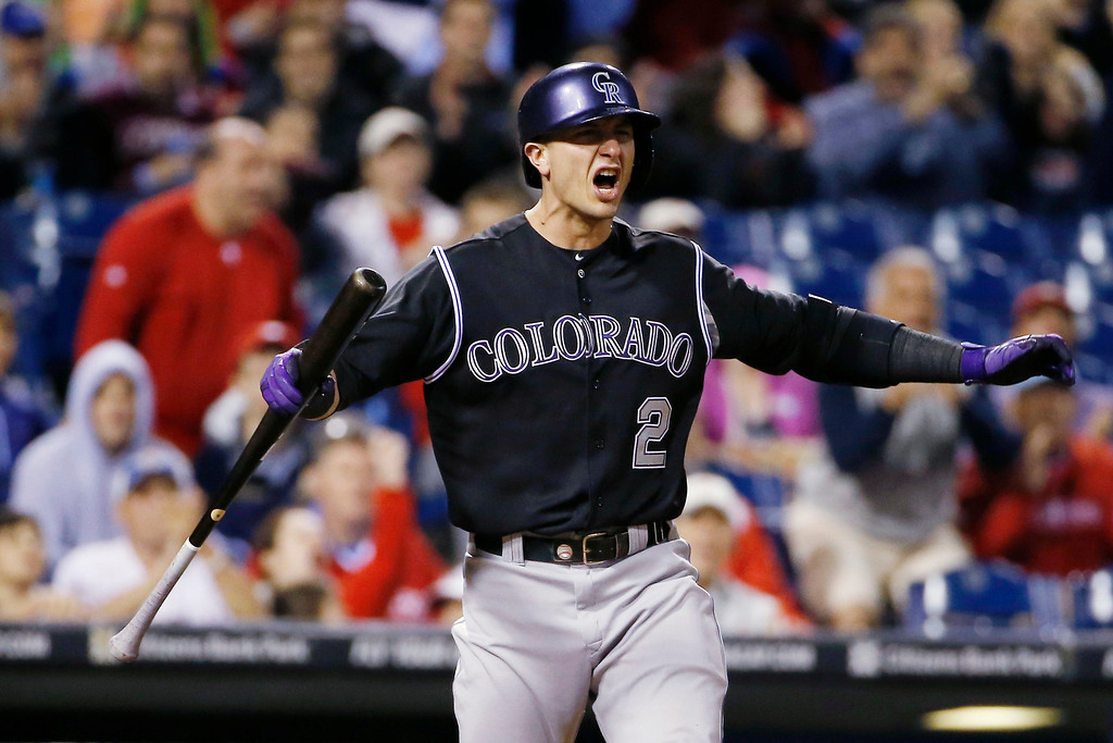 . Colorado Rockies\' Troy Tulowitzki reacts after striking out to Philadelphia Phillies relief pitcher Mike Adams during the seventh inning of a baseball game, Wednesday, May 28, 2014, in Philadelphia. Philadelphia won 6-3. (AP Photo/Matt Slocum)