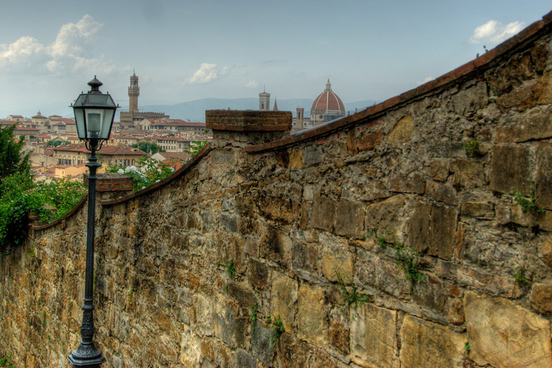Florence Cathedral dome rising above skyline in Florence, Italy