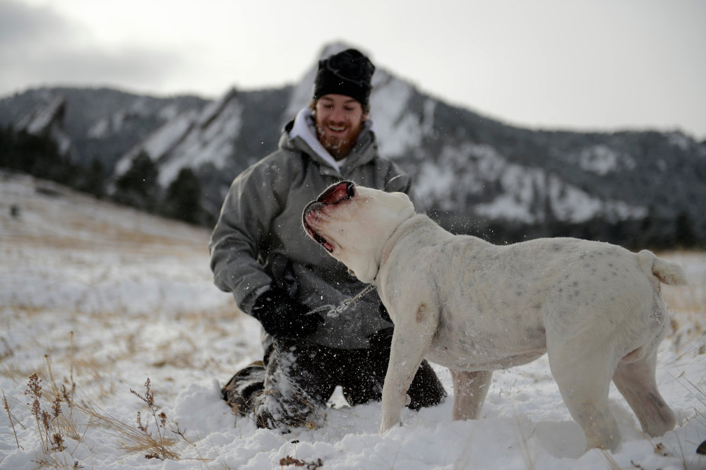 . Keenan Emmitt wrestles with his dog Moses during his first time in the snow in front of the slabs at Chautauqua Park in Boulder Colorado, Wednesday, December 19,  2012.    Joe Amon, The Denver Post