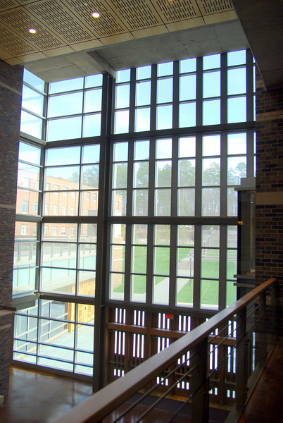 This is the interior of the French Science Center, these windows look towards the Chapel
