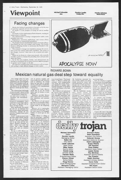 Daily Trojan, Vol. 87, No. 8, September 26, 1979