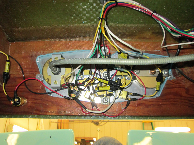 View of new wiring from under the instrument panel.