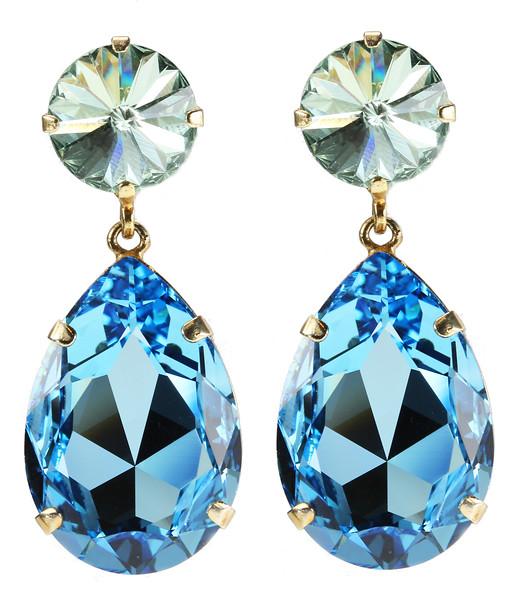 Perfect Drop Earrings / Chrysolite + Aquamarine