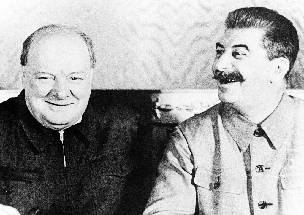 . 1942: Joseph Stalin. Prime Minister Winston Churchill, left, and Joseph Stalin share a joke during their historic conference in Moscow on Sept. 13, 1942. (AP Photo/Official British Photograph)