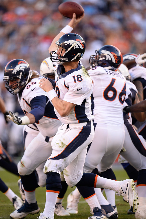 . Denver Broncos quarterback Peyton Manning (18) throws a pass during the third quarter against the San Diego Chargers at Qualcomm Stadium. (Photo by John Leyba/The Denver Post)