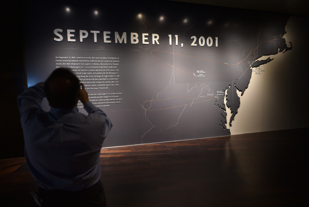 . An opening panel showing a timeline of events seen during a press preview of the National September 11 Memorial Museum at the World Trade Center site May 14, 2014 in New York. AFP PHOTO/Stan HONDA/AFP/Getty Images