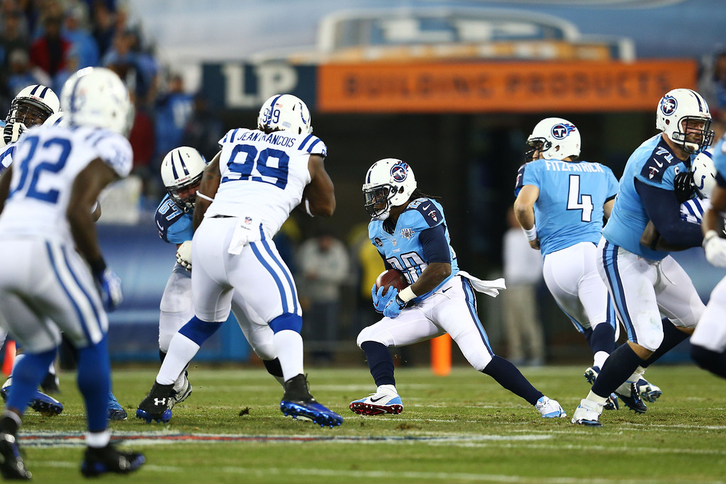 . NASHVILLE, TN - NOVEMBER 14:  Chris Johnson #28 of the Tennessee Titans runs for a first quarter touchdown against the Indianapolis Colts at LP Field on November 14, 2013 in Nashville, Tennessee.  (Photo by Andy Lyons/Getty Images)