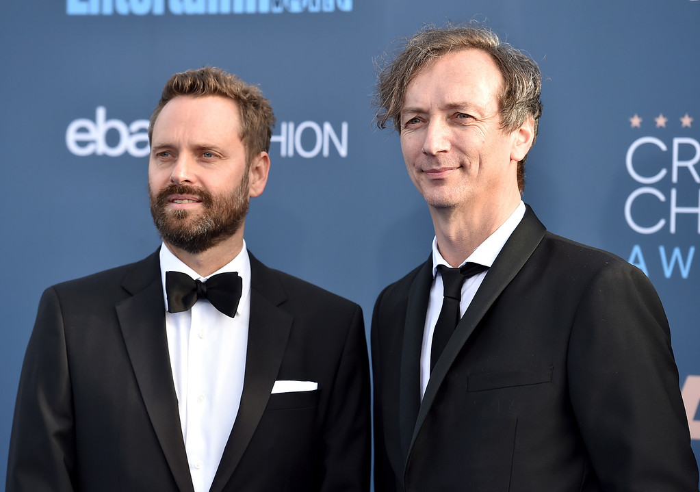 . Dustin O\'Halloran, left, and Hauschka arrive at the 22nd annual Critics\' Choice Awards at the Barker Hangar on Sunday, Dec. 11, 2016, in Santa Monica, Calif. (Photo by Jordan Strauss/Invision/AP)
