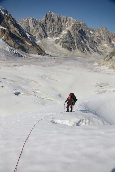 Steep snow at 6400' at pass 2 - Revelation Traverse, 2009.
