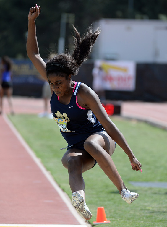 . Notre Dame\'s Donatella Asemota competes in the long jump Invitational during the Mt. SAC Relays in Hilmer Lodge Stadium on the campus of Mt. San Antonio College in Walnut, Calif., on Saturday, April 19, 2014. 