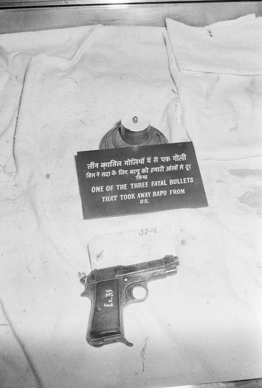 . This is the gun and one of the bullets with which Nathuram Godse assassinated Mohandas Gandhi, Indian patriot and spiritual leader, on January 30, 1948, seen in its first public exhibit, Oct. 28, 1969, in New Delhi.  (AP Photo)