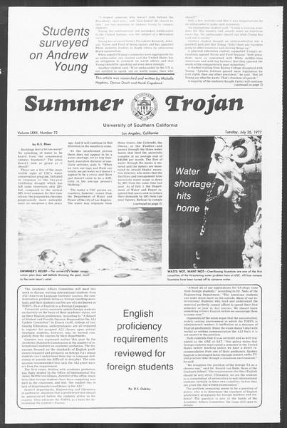 Summer Trojan, Vol. 72, No. 9, July 26, 1977