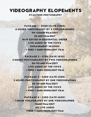 Videography Elopement Pricing