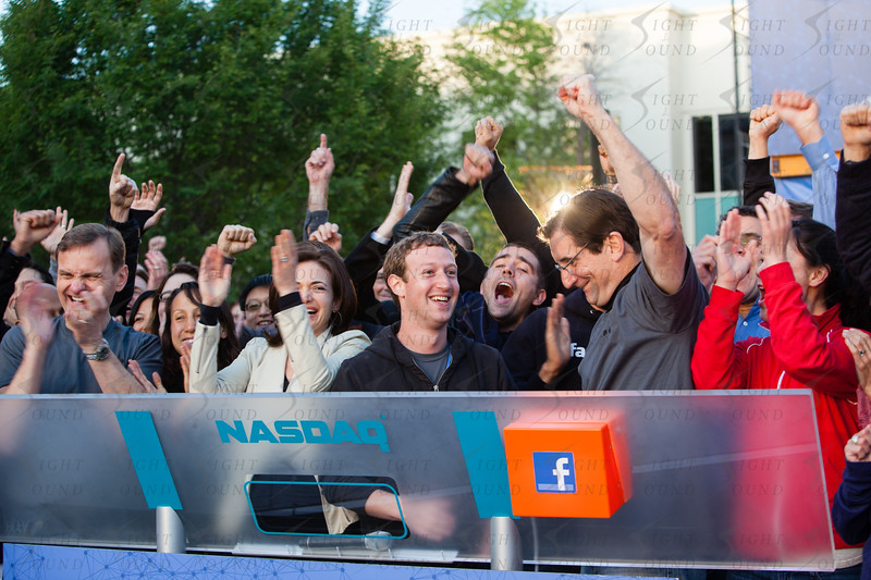 Remote Opening Bell Ceremony at the Facebook Headquarters in celebration of the Facebook IPO