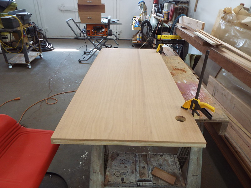 Desk top trimmed and sanded. Ready to be installed.