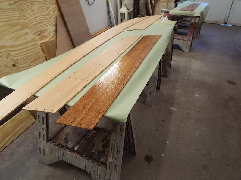 New deck plank with epoxy applied to the back side.